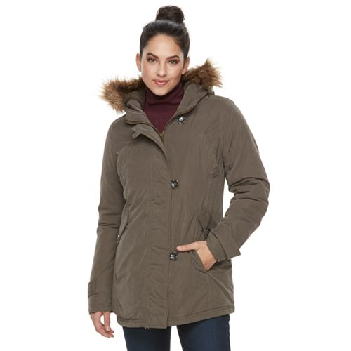 Women's KC Collections Hooded Faux-Fur Trim Microfiber Jacket
