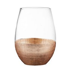 Fitz & Floyd Linen 4 pc Stemless  Wine Glass Set