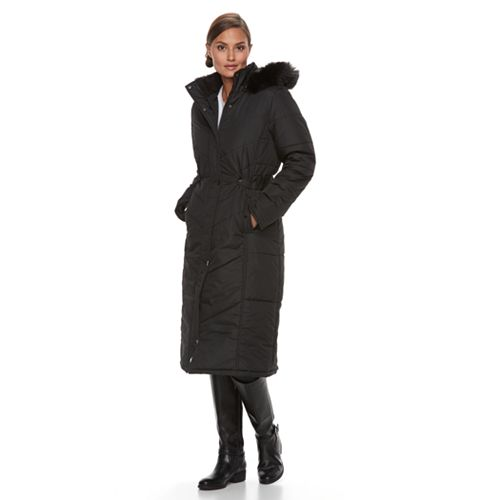 Women's KC Collections Long Hooded Faux-Fur Trim Puffer Jacket
