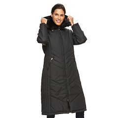 Women's KC Collections Hooded Faux-Fur Trim Long Puffer Jacket