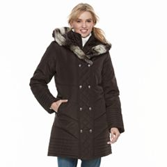 Women's KC Collections Faux Fur Trim Double Breasted Puffer Coat