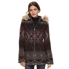 Women's KC Collections Tribal Faux-Fur Trim Wool Blend Jacket