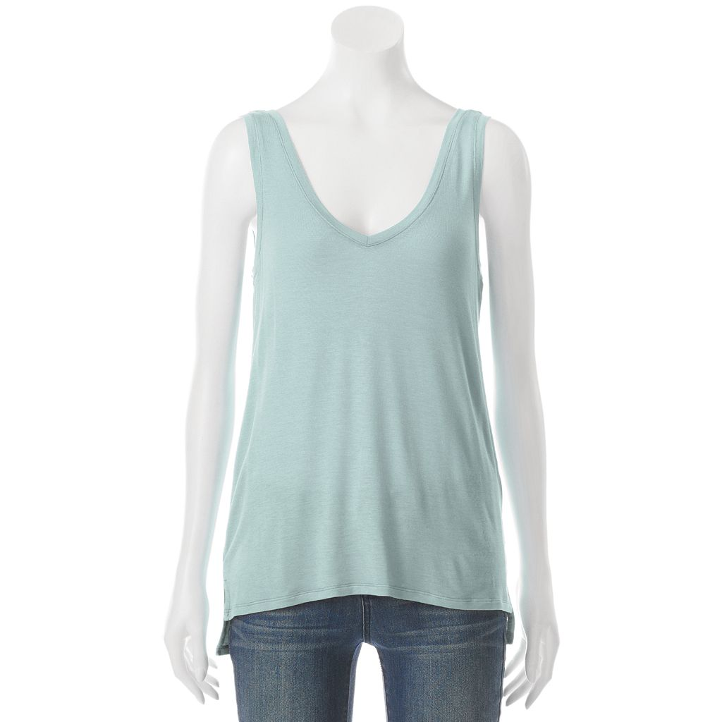 Juniors' Mudd® Step Hem V-Neck Tank