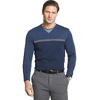 Big & Tall Van Heusen Jaspe Classic-Fit Mock-Layer Stretch V-Neck Sweater