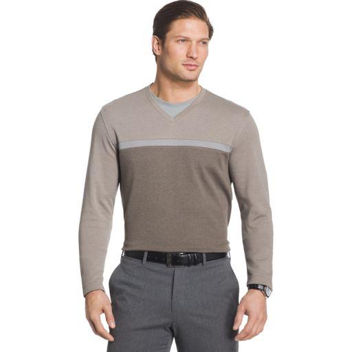 Big & Tall Van Heusen Jaspe Classic-Fit Mock-Layer Stretch V-Neck Sweater