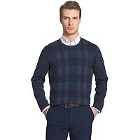 Big & Tall Van Heusen Classic-Fit Plaid Crewneck Sweater