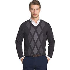 Big & Tall Van Heusen Regular-Fit Argyle V-Neck Sweater