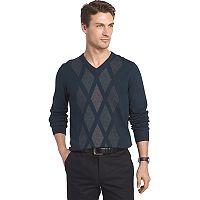 Big & Tall Van Heusen Regular-Fit Argyle V-Neck Sweater