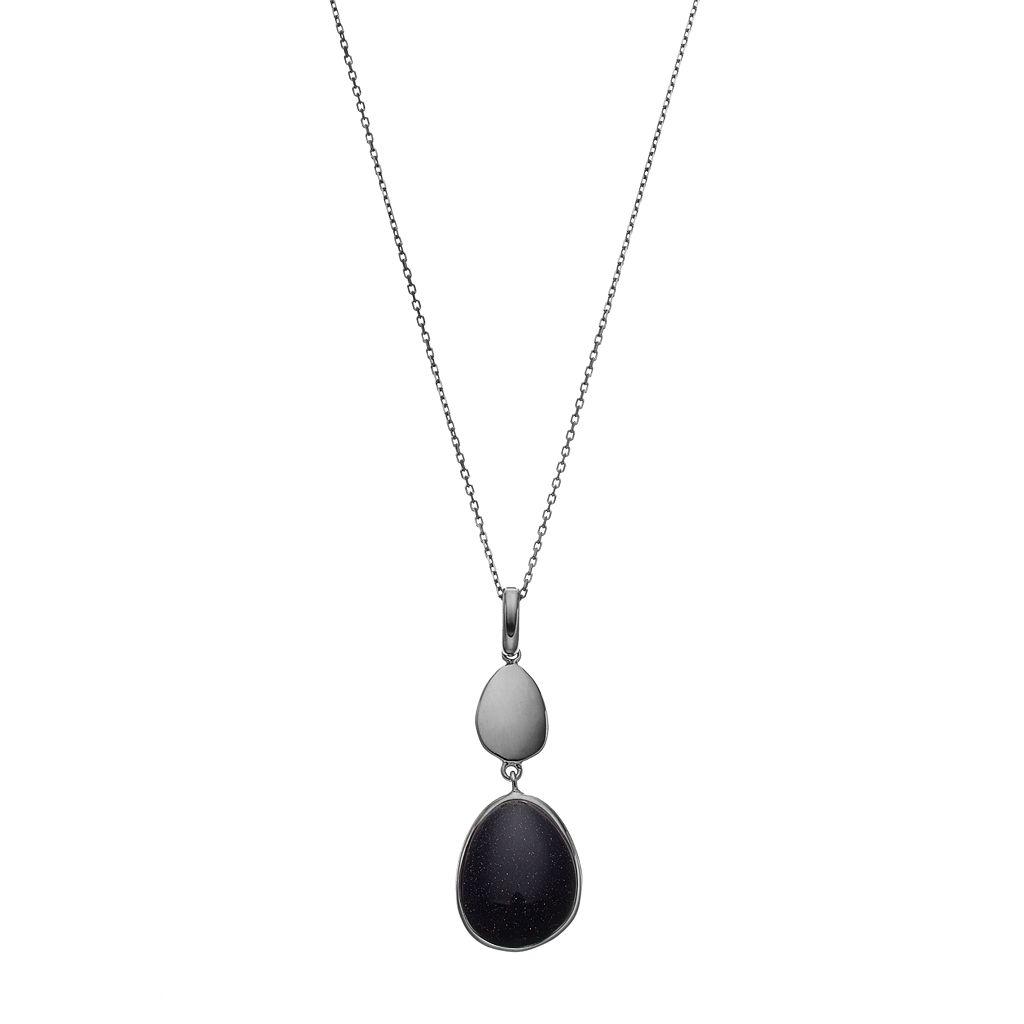 Sterling Silver Blue Quartz Cabochon Teardrop Pendant Necklace