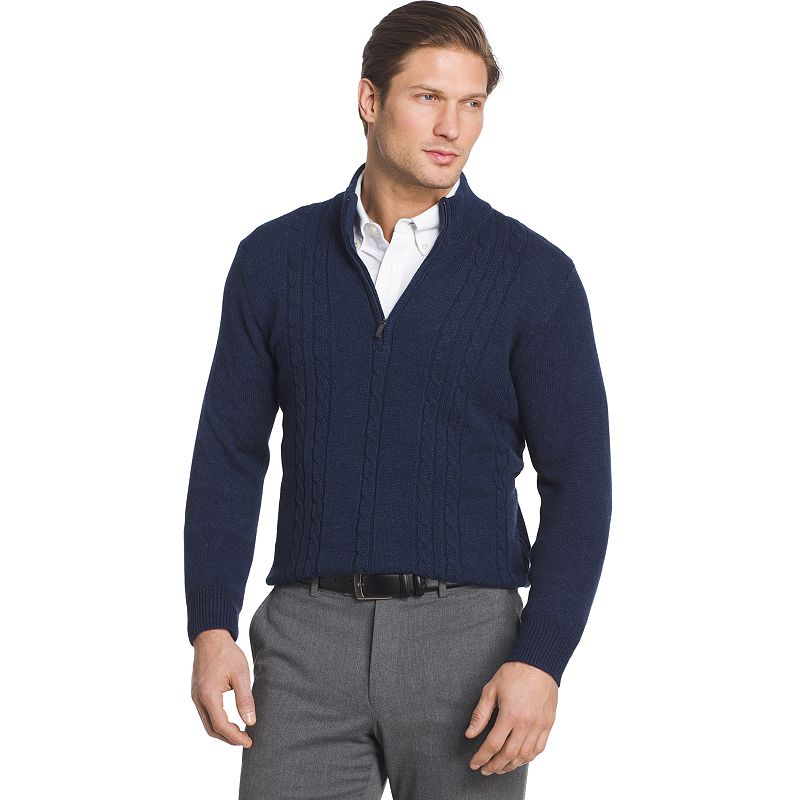 1b7a0821e131 Big   Tall Van Heusen Regular-Fit Cable-Knit Quarter-Zip Sweater ...