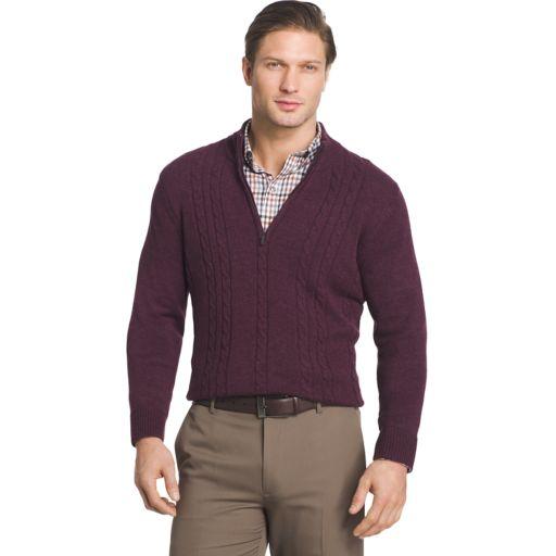 Big & Tall Van Heusen Regular-Fit Cable-Knit Quarter-Zip Sweater