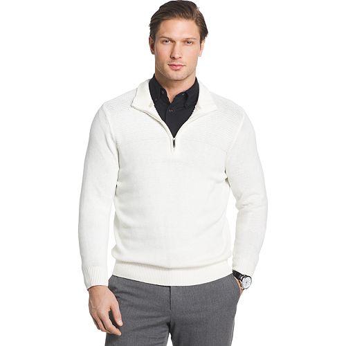 Big & Tall Van Heusen Regular-Fit Textured Quarter-Zip Pullover Sweater