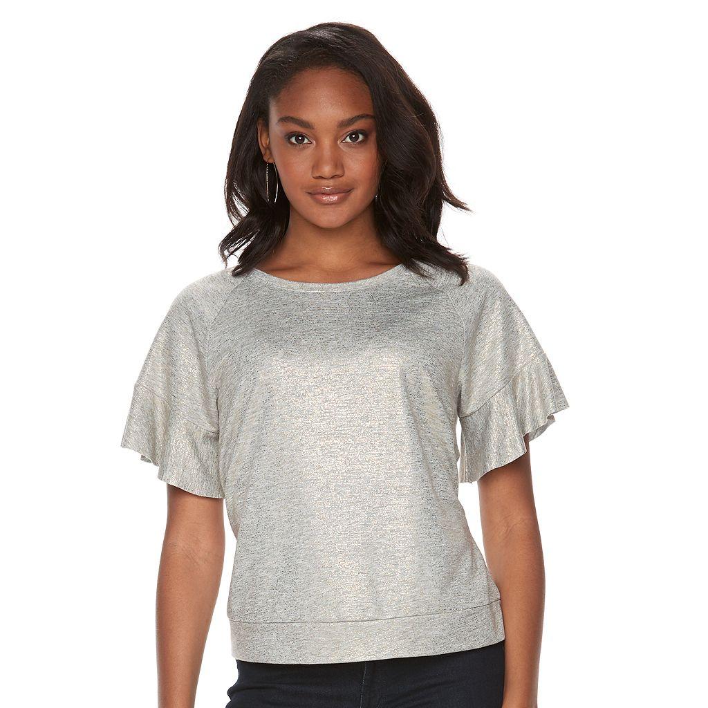 Women's Apt. 9® Metallic Flutter Crewneck Sweatshirt