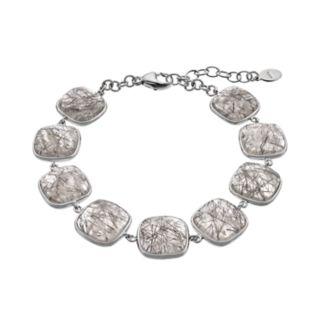 Sterling Silver Black Rutilated Quartz Cabochon Bracelet