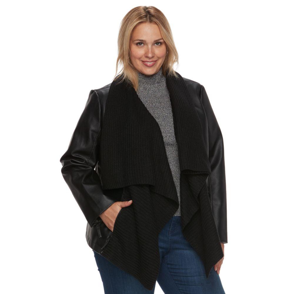 Size Apt. 9® Faux-Leather Ribbed Sweater Jacket