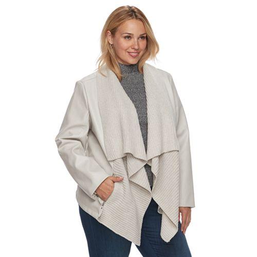 Plus Size Apt. 9® Faux-Leather Ribbed Sweater Jacket
