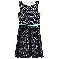 Girls 7-16 Speechless Mixed-Lace Skater Dress