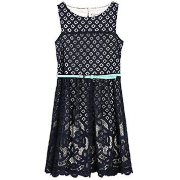 Girls 7-16 Speechless Mixed-Lace Skater Dress
