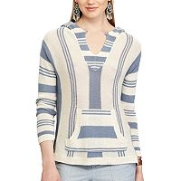 Women's Chaps Striped Linen Blend Hoodie