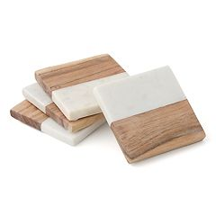 Food Network™ Marble & Acacia 4-pc. Coaster Set