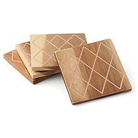 Food Network™ Copper & Acacia 4 pc Coaster Set