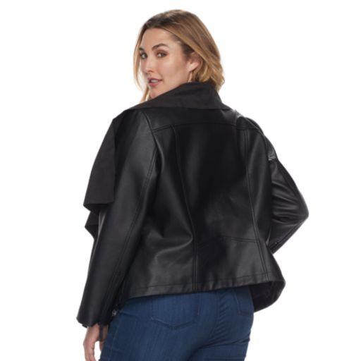 Plus Size Apt. 9® Suede Faux Leather Cascade Pullover Jacket