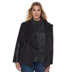 Plus Size Apt. 9® Suede Faux Leather Cascade Pullover Jacket