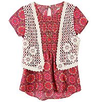 Girls 7-16 Speechless Crochet Vest & Smocked Top with Necklace