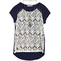 Girls 7-16 Speechless Lace Overlay Top with Necklace