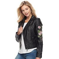 Juniors' J-2 Embroidered Faux-Leather Moto Jacket