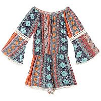 Girls 7-16 Speechless Patterned Bell Sleeve Romper with Lace Inset