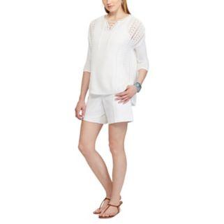 Women's Chaps Lace-Up Linen Blend Sweater