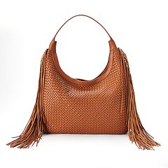 SONOMA Goods for Life™ Amelia Basket Weave & Long Fringe Slouchy Hobo