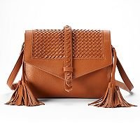 SONOMA Goods for Life™ Addison Basket Weave Flap & Tassel Crossbody Bag