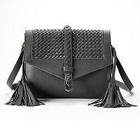 Rosetti Addison Basket Weave Flap & Tassel Crossbody Bag