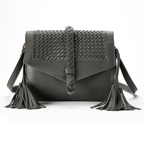 SONOMA Goods for Life™ Addison Basket Weave Flap & Tassel Crossbody Bag