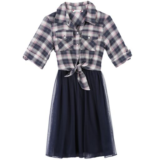 Girls 7-16 Speechless Plaid Top & Tulle Skirt Fit and Flare Dress