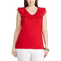 Plus Size Chaps Ruffled V-Neck Top