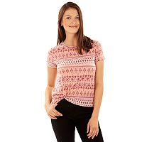 Juniors' Wallflower Knot Front Print Tee