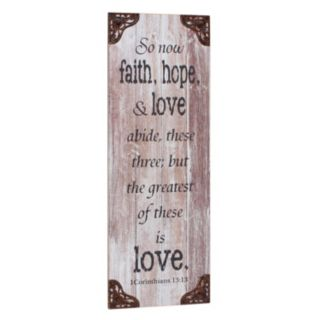 """Stonebriar Collection """"Faith, Hope & Love"""" Wall Decor"""