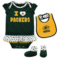 Baby Green Bay Packers Team Love Bodysuit Set