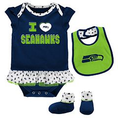 Baby Seattle Seahawks Team Love Bodysuit Set