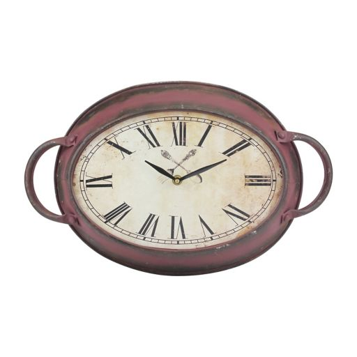 Stonebriar Collection Distressed Oval Wall Clock