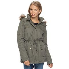 Juniors' J-2 Faux-Fur Trim Hood Anorak Jacket