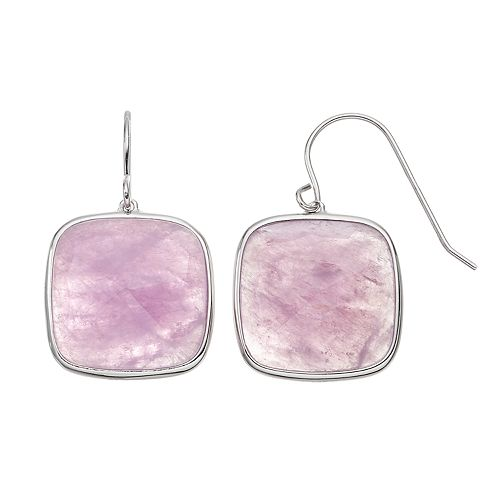 Sterling Silver Amethyst Square Drop Earrings