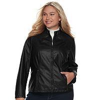 Juniors' Plus Size J-2 Faux-Leather Jacket