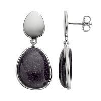 Sterling Silver Blue Sandstone Teardrop Earrings