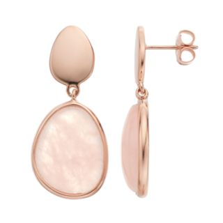 14k Rose Gold Over Silver Rose Quartz Teardrop Earrings