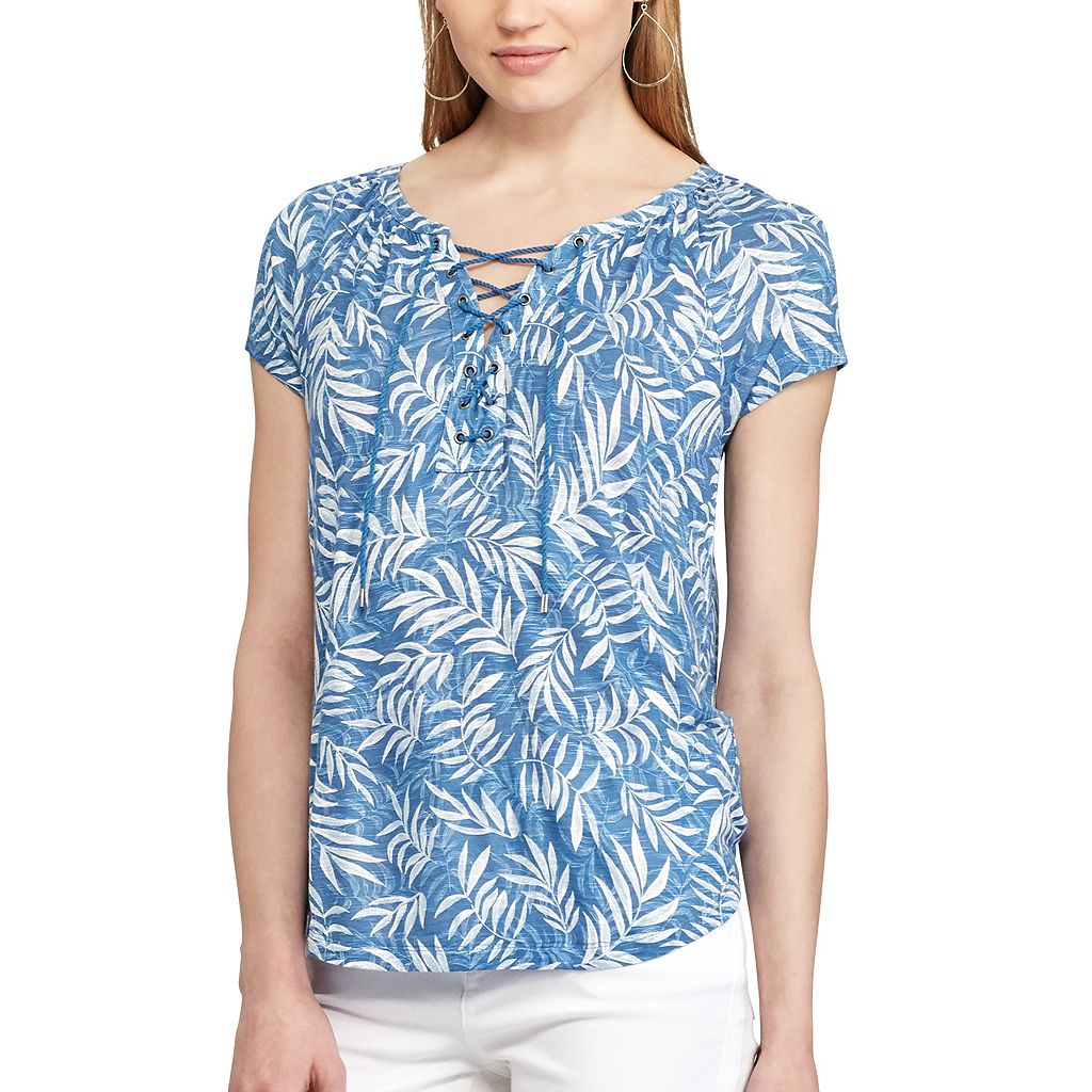 Women's Chaps Printed Lace-Up Top