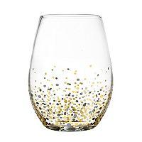 Fitz & Floyd Confetti 4 pc Stemless Wine Glass Set